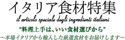 """イタリア食材特集 """"料理上手は、いい食材選びから"""" 〜本場イタリアから輸入した厳選食材をお届けします〜"""
